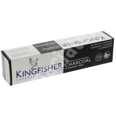 Pasta de dinti naturala cu carbune activ pentru albirea naturala a dintilor, 100 ml, Kingfisher