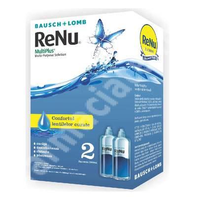 Picături pentru dezinfectarea lentilelor de contact - Renu MultiPlus, 2x360 ml, Bausch Lomb