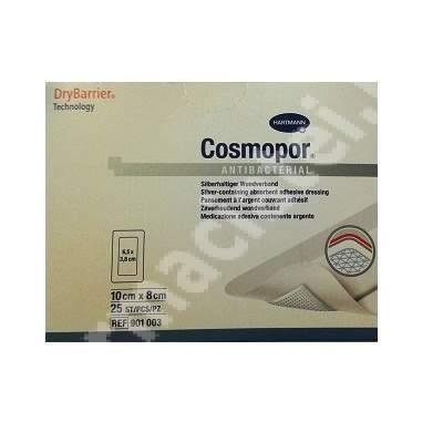 Plasture antibacterial Cosmopor 10 cm x 8 cm, 25 bucăți, Hartmann