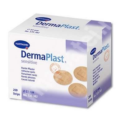 Plasturi rotunzi DermaPlast Sensitive (535382), 200 bucăți, Hartmann