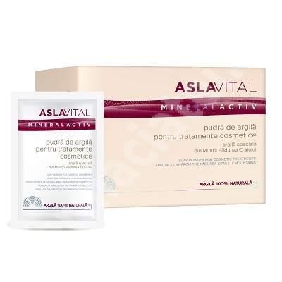 Pudra de argila pentru tratamente cosmetice AslaVital Mineral Activ, 10 plicuri x 20 g, Farmec