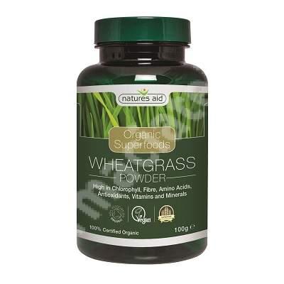 Pudra de iarba de grau organica, 100 g, Natures Aid