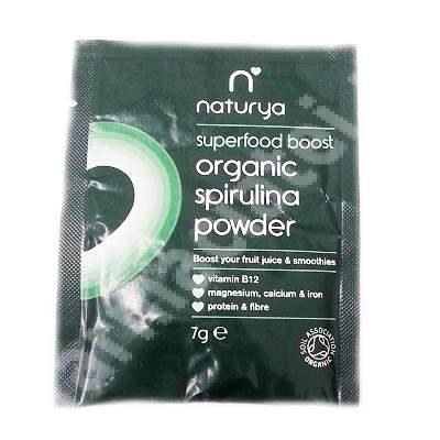 Pulbere ecologica de spirulina, 7 g, Naturya