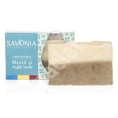 Sapun cu menta si argila verde, 90 g, Savonia