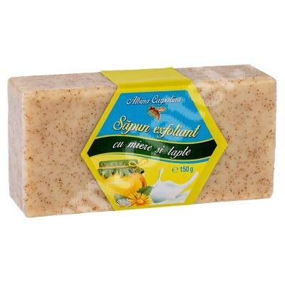 Sapun exfoliant cu miere si lapte, 150 g, Albina Carpatina