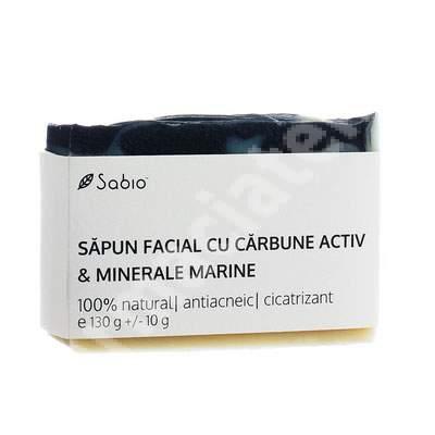 Săpun facial natural cu cărbune activ și minerale marine, 130 g, Sabio