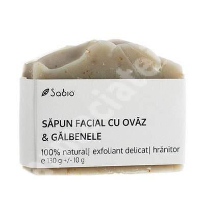 Săpun facial natural cu ovăz și galbenele, 130 g, Sabio