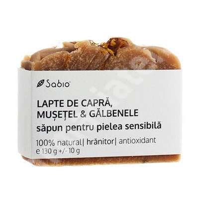 Săpun natural pentru pielea sensibilă cu lapte de capră, mușețel și galbenele, 130 g, Sabio