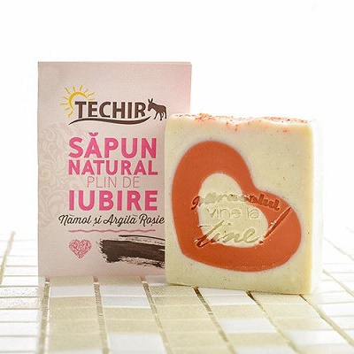 Săpun natural plin de iubire cu nămol și argila roșie, 120 g, Techir