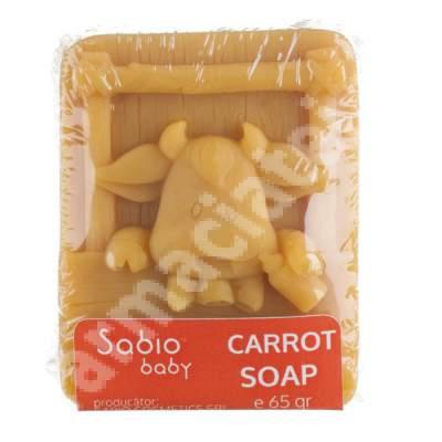 Săpun solid natural cu morcovi pentru bebeluși, 65 g, Sabio