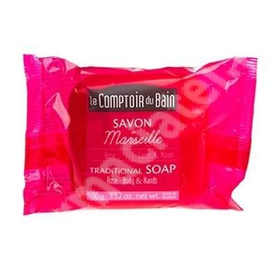 Sapun traditional de Marsilia cu parfum de Trandafir, 100 g, Le Comptoir du Bain