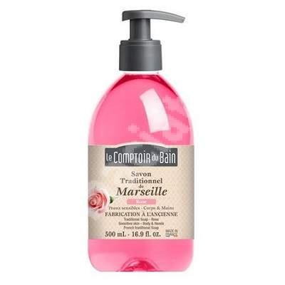 Sapun traditional de Marsilia cu parfum de Trandafir, 500 ml, Le Comptoir du Bain