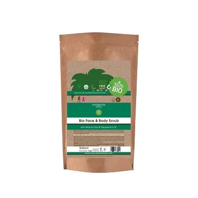 Scrub pentru față și corp cu ceai Matcha Bio (FBSC100), 100 ml, Coconutoil