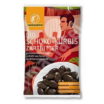 Seminte de dovleac in ciocolata amaruie Bio, 55 g, Landgarten