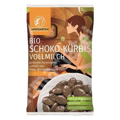 Seminte de dovleac in ciocolata cu lapte Bio, 55 g, Landgarten