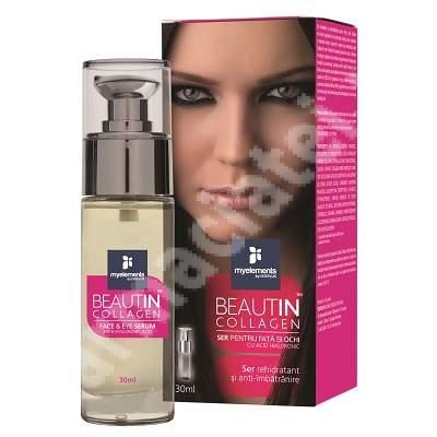 Ser rehidratant si anti-imbatranire pentru fata si ochi Beautin Collagen, 30 ml, MyElements