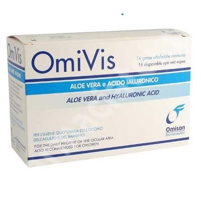 Servetele sterile oftalmice pentru igiena perioculara cu aloe vera si acid hialuronic OmiVis, 20 bucati, Omisan Farmaceutici