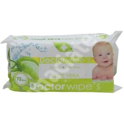 Servetele umede pentru copii cu Aloe Vera, 72 bucati, Doctor Wipe's