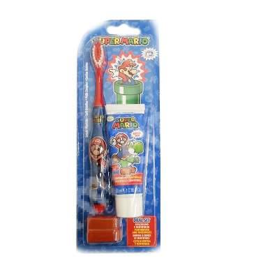 Set Periuță de dinți + Pastă de dinți Mario, 25 ml, Dentifrico