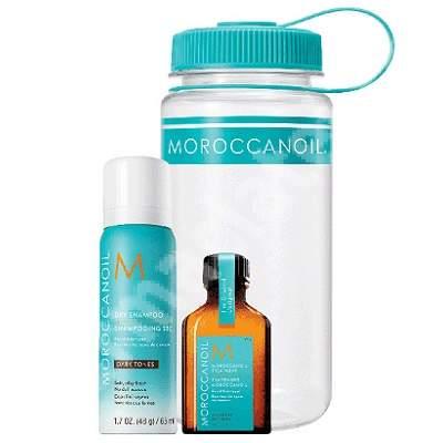 Set Sampon uscat pentru par inchis la culoare, 65 ml + Ulei tratament, 25 ml, Moroccanoil