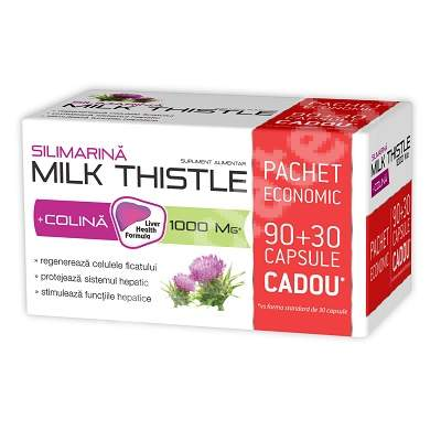 Silimarina + Colina Milk Thistle 1000 mg, 90 + 30 capsule, Natur Produkt