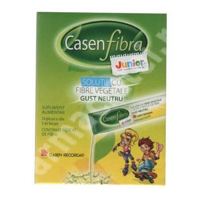 Solutie cu fibre vegetale gust neutru Casen Fibra Junior, 14 plicuri, Casen Recordati