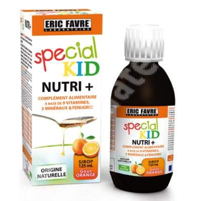 Special Kid Nutri+ cu 9 vitamine, 3 minerale si Schinduf, 125 ml, Laboratoarele Eric Favre Paris