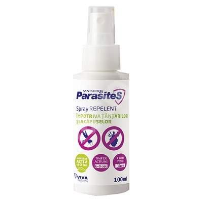 Spray repelent împotriva țânțarilor și a căpușelor, Parasites Santaderm, 100 ml, Viva Pharma