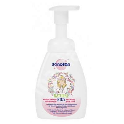 Spuma de curatare pentru corp si fata pentru fetite, 250 ml, Sanosan