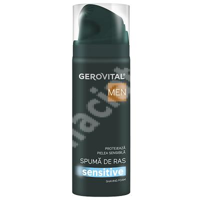 Spuma de ras sensitive Gerovital Men, 200 ml, Farmec