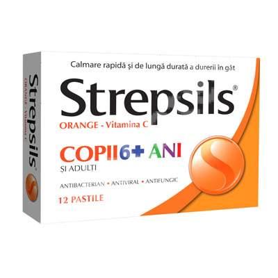 Strepsils Orange Vit C Copii 6+ ani, 12 comprimate, Reckitt Benckiser Healthcare