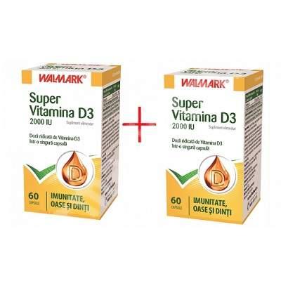 Super Vitamina D3, 60 capsule + 50% reducere la al 2 lea produs, Walmark