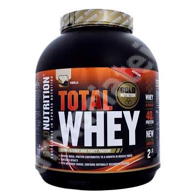 Total Whey aroma de vanilie, 2 kg, Gold Nutrition
