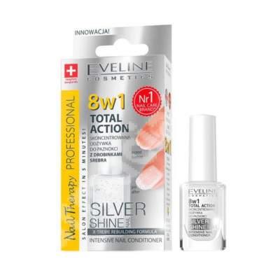 Tratament profesional 8in1 Silver Shine Nail Therapy, 12 ml, Eveline Cosmetics