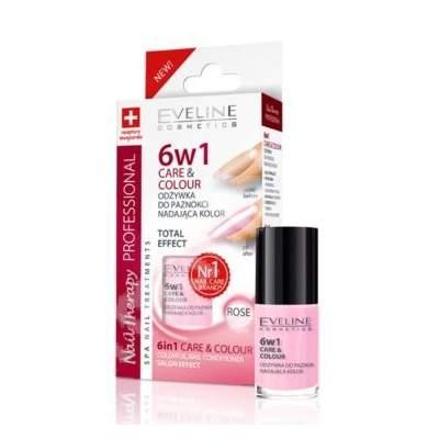 Tratament profesional Care & Colour Nail Therapy 6ÎN1 - Rose, 5 ml, Eveline Cosmetics