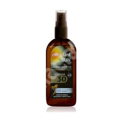 Ulei spray pentru bronzare accelerată cu ulei de macadamia Omega Protect SFP 30 Sun, 150 ml, Elmiplant