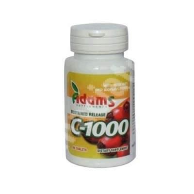 Vitamina C 1000 cu macese, 60 tablete, Adams Vision