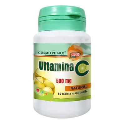 Vitamina C 500mg Lemon, 60 tablete masticabile, Cosmopharm
