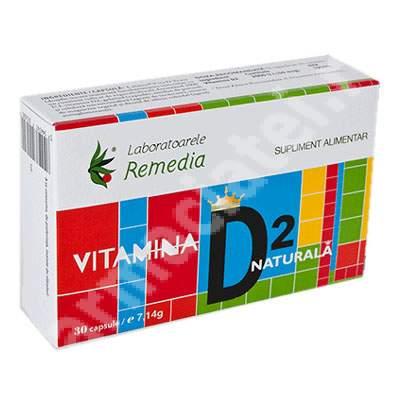 Vitamina D2 Naturală, 30 capsule, Remedia