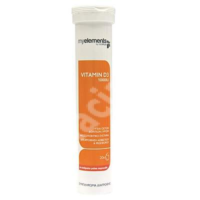 Vitamina D3 1000IU MyElements, 20 tablete efervescente, Iso Plus Natural