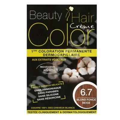 Vopsea de par cu extracte vegetale si bumbac Dark Blond Beige, Nuanta 6.7, 160 ml, Beauty Hair Color