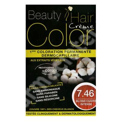 Vopsea de par cu extracte vegetale si bumbac Intense Copper Blonde, Nuanta 7.46, 160 ml, Beauty Hair Color