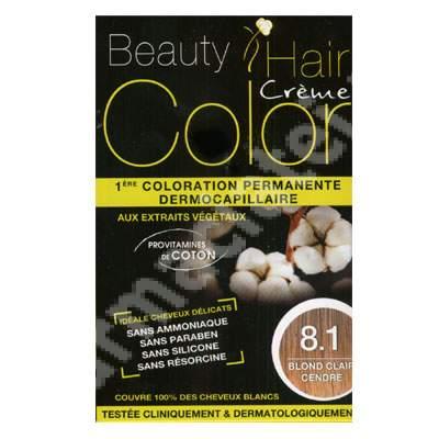 Vopsea de par cu extracte vegetale si bumbac Light Ash Blonde, Nuanta 8.1, 160 ml, Beauty Hair Color