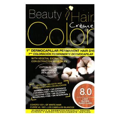 Vopsea de par cu extracte vegetale si bumbac Light Blonde, Nuanta 8.0, 160 ml, Beauty Hair Color