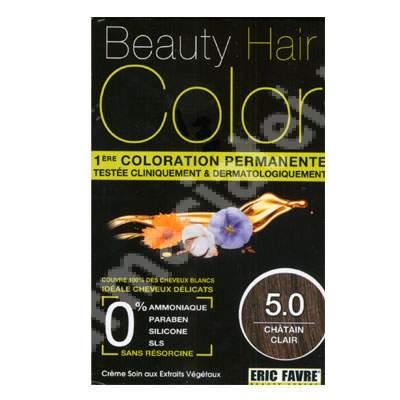 Vopsea de par cu extracte vegetale si bumbac Light Chestnut Brown, Nuanta 5.00, 160 ml, Beauty Hair Color