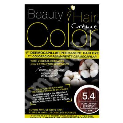 Vopsea de par cu extracte vegetale si bumbac Light Copper Chestnut, Nuanta 5.4, 160 ml, Beauty Hair Color