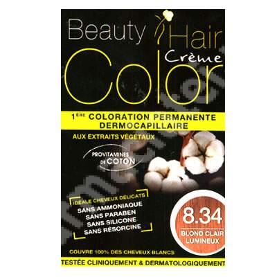 Vopsea de par cu extracte vegetale si bumbac Luminous Light Blonde, Nuanta 8.34, 160 ml, Beauty Hair Color