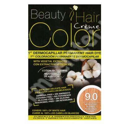 Vopsea de par cu extracte vegetale si bumbac Very Light Blonde, Nuanta 9.0, 160 ml, Beauty Hair Color