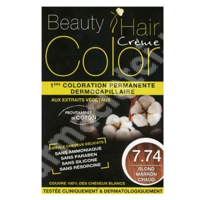 Vopsea de par cu extracte vegetale si bumbac Warm Brown Blonde, Nuanta 7.74, 160 ml, Beauty Hair Color