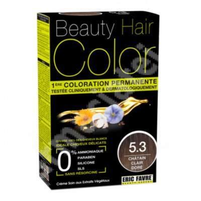 Vopsea de par Light Golden Chestnut, Nuanta 5.3, 160 ml, Beauty Hair Color